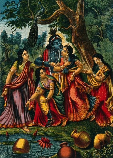 Krishna playing with four cowgirls at a well. Chromolithograph.