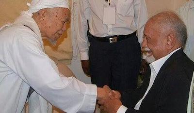 Two political stalwarts: Nik Aziz (left) and Karpal