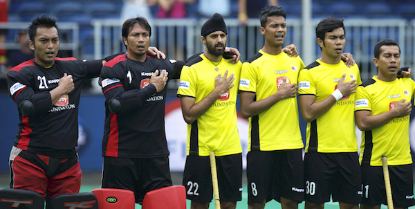 Sikhs no longer dominate the Malaysian hockey. Baljit Singh is the only Sikh player in the national squad, seen here in the game against Germany at the ongoing World League Semifinals in Antwerp, Belgium. - PHOTO INTERNATIONAL HOCKEY FEDERATION