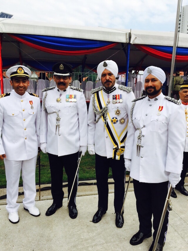 WARRIORS: Sikh officials at the Malaysia Warriors' Day parade in Kuala Lumpur today. (L-R) Lieutenant Commander Parminder Singh, Supt Amar Singh, Deputy Commissioner Datuk Amar Singh and Supp Ravinder Singh.