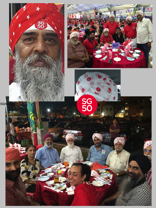 Sikhs at various dinners to celebrate the 50th anniversary of Singapore.