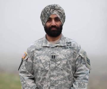 Army Capt. Simratpal Singh won an administrative exception to the Army's no-beards policy. Bay Area resident Harpal Singh also won an accommodation to keep his hair and beard and reported for duty Monday. Jovelle Tamayo Sikh Coalition via AP