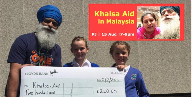 Khalsa Aid founder Ravinder Singh to be honoured at an evening darbar programme in Petaling Jaya on 15 Aug 2016 (Mon)