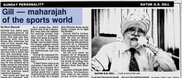 Gill - maharajah of the sports world, New Straits Times (17 Sept 1989)