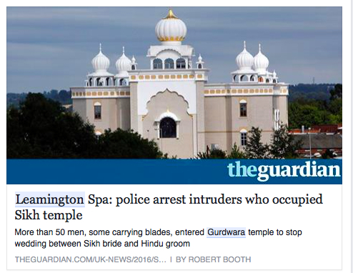NEGATIVE IMAGE: A report at The Guardian, a London-based newspaper, on the Leamington Spa incident - PHOTO / ASIA SAMACHAR