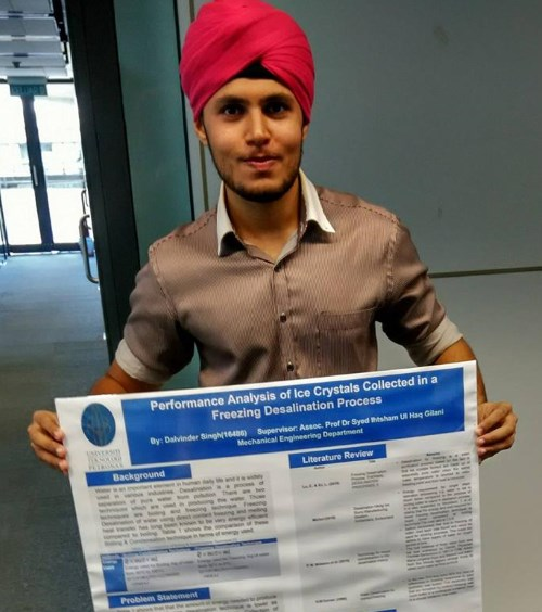 Dalvinder Singh: Completed Bachelors in Mechanical Engineering from University Teknologi Petronas (UTP). - PHOTO / SUPPLIED