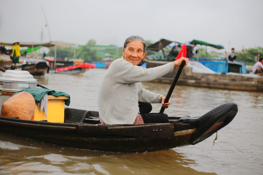 Mekong Delta experience - old lady on the boat
