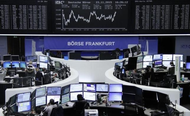 Traders in front of the DAX board at the stock exchange in Frankfurt. Photo: Reuters
