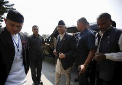 Prime Minister candidate and Chairman of the Communist Party of Nepal (Unified Marxist-Leninist) (CPN-UML) Khadga Prashad Sharma Oli, also known as KP Oli, arrives for prime ministerial election at the parliament in KathmanduPrime Minister candidate and Chairman of the Communist Party of Nepal (Unified Marxist-Leninist) (CPN-UML) Khadga Prashad Sharma Oli, also known as KP Oli, arrives for prime ministerial election at the parliament in Kathmandu