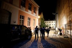 Police secure an area after an explosion in Ansbach, near Nuremberg