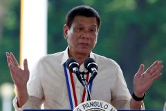 Philippine President Rodrigo Duterte speaks during a National Heroes Day commemoration at the Libingan ng mga Bayani (Heroes' Cemetery) in Taguig city, Metro Manila