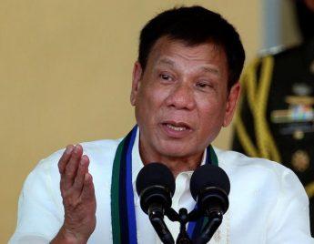 Philippines President Rodrigo Duterte speaks in front of soldiers at main military Camp Aguinaldo in Quezon city Metro Manila