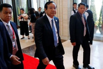 Cambodia's Foreign Minister Prak Sokhon arrives at a meeting at the sidelines of the ASEAN foreign ministers meeting in Vientiane