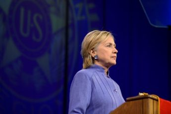 Democratic presidential nominee Hillary Clinton addresses the National Convention of the American Legion in Cincinnati