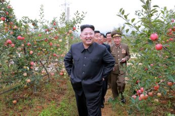 North Korean leader Kim Jong-un inspects the Kosan Combined Fruit Farm. Photo: KCNA via Reuters