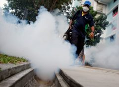 A worker fogs the common area of a public housing estate at a new Zika cluster in Singapore
