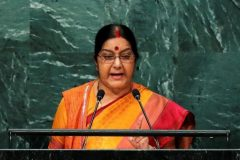India's Minister of External Affairs Sushma Swaraj addresses the United Nations General Assembly in New York