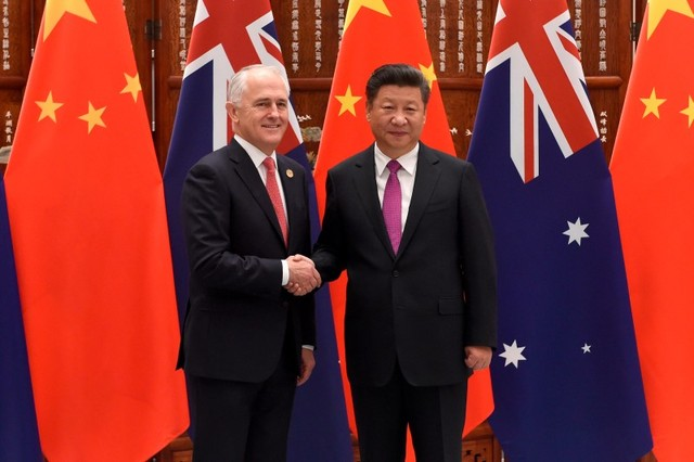 Chinese President Xi Jinping shakes hands with Australia's Prime Minister Malcolm Turnbull ahead of G20 Summit in Hangzhou, Zhejiang province, China, September 4, 2016. Photo: Reuters, Wang Zhao
