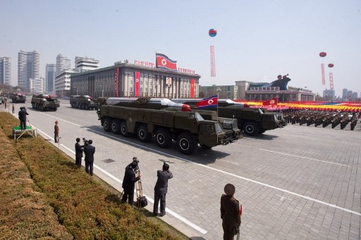 A file photo shows  Musudan-class missiles being displayed during a military parade in honor of the 100th birthday of the late North Korean leader Kim Il Sung in Pyongyang on April 15, 2012. Photo: AFP