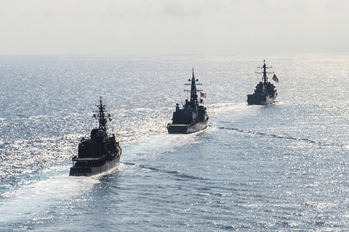 US guided-missile destroyer transits in formation with Japan Maritime Self-Defense Force during bilateral training in South China Sea. Photo: Navy handout via Reuters