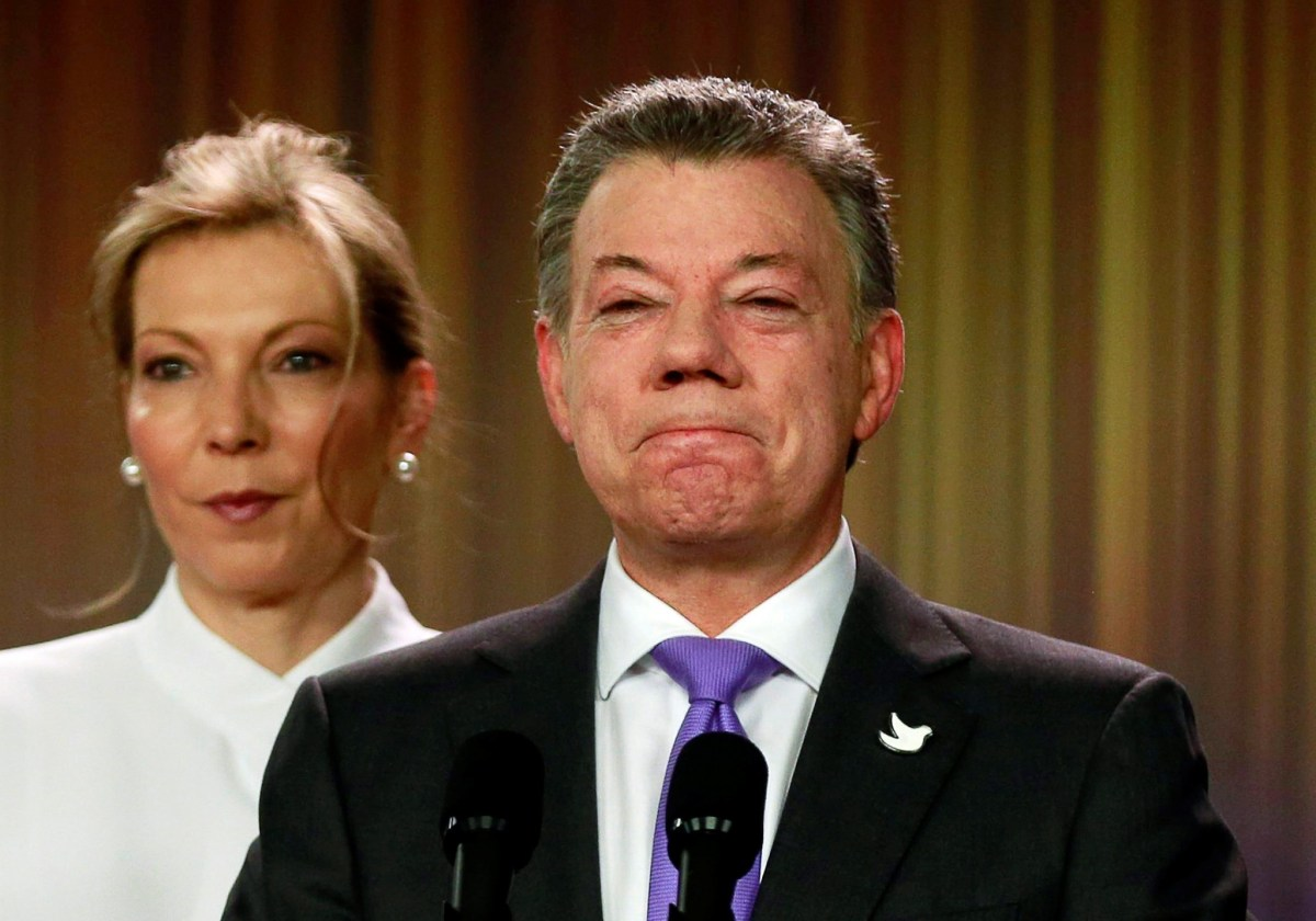 Colombia's President Juan Manuel Santos reacts as he addresses the media after winning the Nobel Peace Prize, at Narino Palace in Bogota, Colombia, Oct. 7, 2016. REUTERS/John Vizcaino