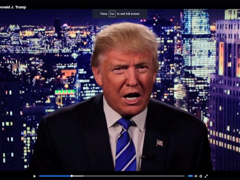 Republican US presidential nominee Donald Trump is seen in a video screengrab as he apologizes for lewd comments he made about women during a statement recorded by his presidential campaign and released via social media. Reuters