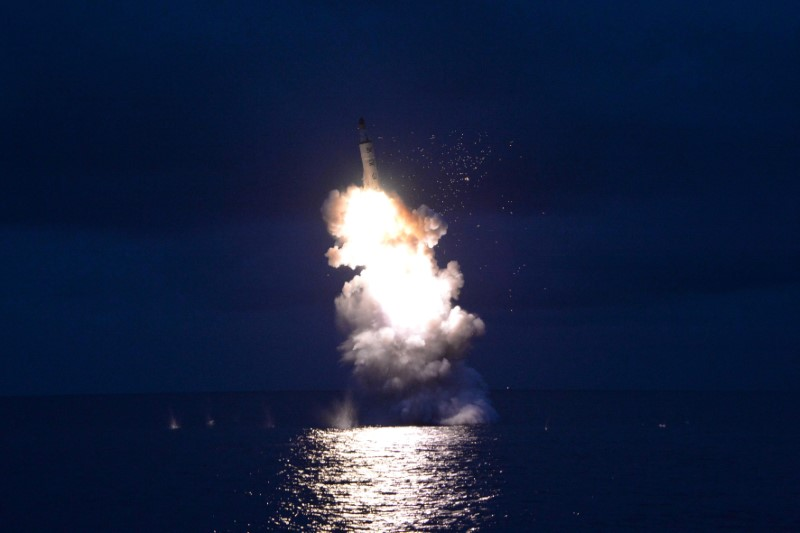 A test-fire of strategic submarine-launched ballistic missile in an undated photo released by North Korea's Korean Central News Agency (KCNA) in Pyongyang August 25, 2016. Photo: Reuters/KCNA