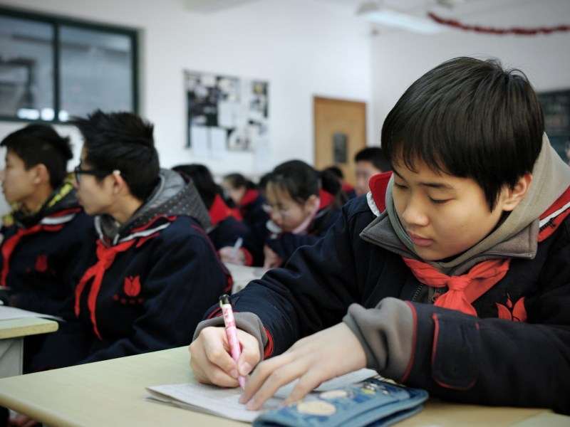 Students attend class at the Jing'an Education College Affiliated School in Shanghai. Photo: AFP