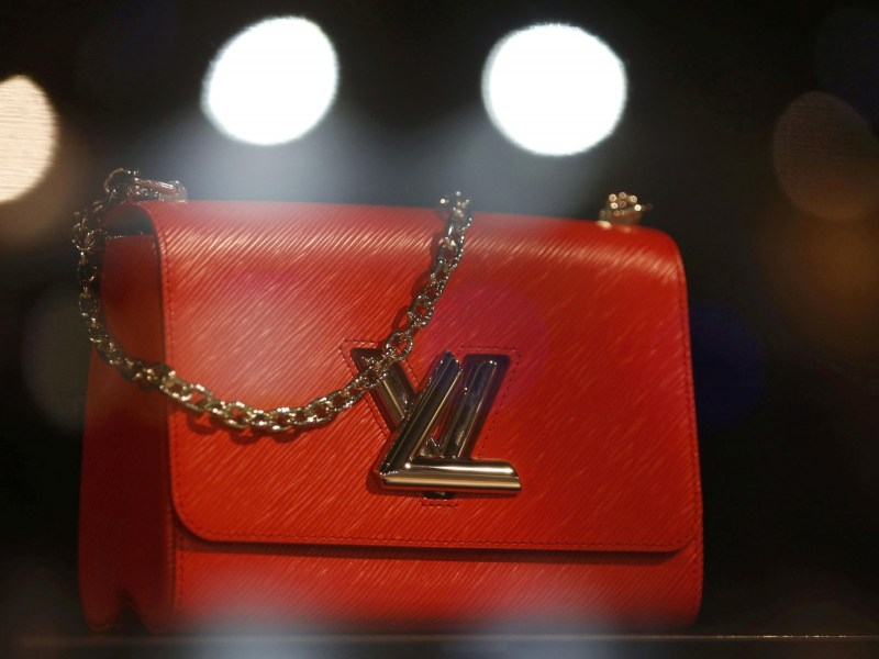 The logo of Louis Vuitton is seen on a handbag at a Louis Vuitton store in Bordeaux. Photo:  Reuters/Regis Duvignau