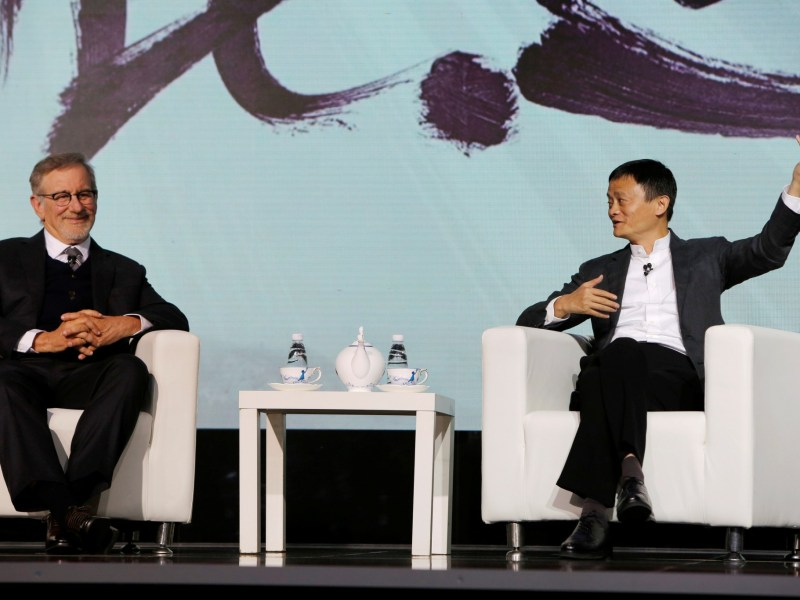 Steven Spielberg, film director and chairman of Amblin Partners and Jack Ma, chairman and chief executive of Alibaba Group at an event to announce their movie company partnership in China in October, 2016. Photo: Reuters/Shirley Feng