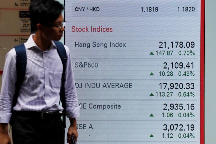 A man walks past a panel displaying stock indices of Hong Kong, U.S. and China markets, outside a bank in Hong Kong June 7, 2016.  Photo: Reuters, Bobby Yip