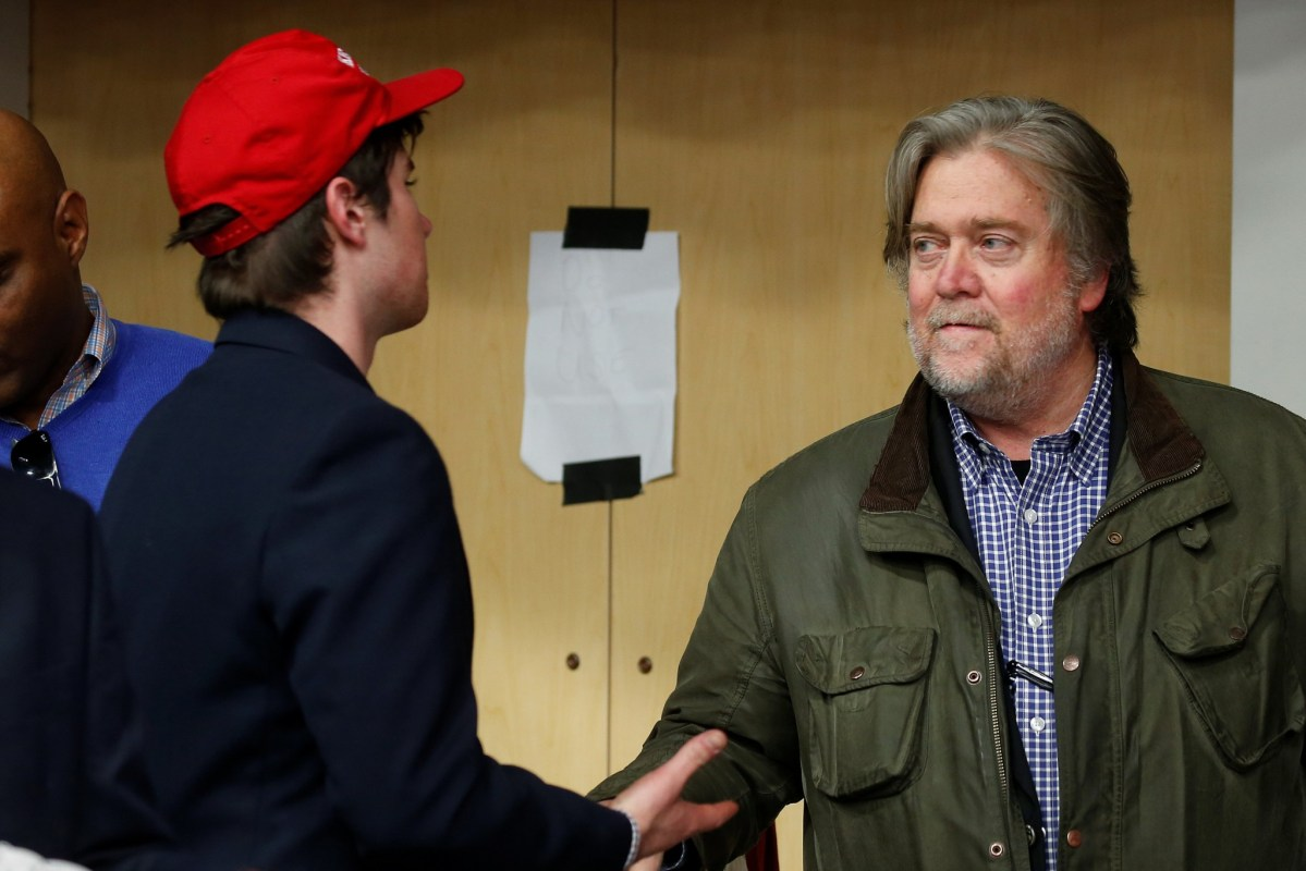 Donald Trump's chief strategist Steve Bannon was the president-elect's campaign CEO. seen here backstage during an event in in Eau Claire, Wisconsin on November 1, 2016. Photo: Reuters/Carlo Allegri