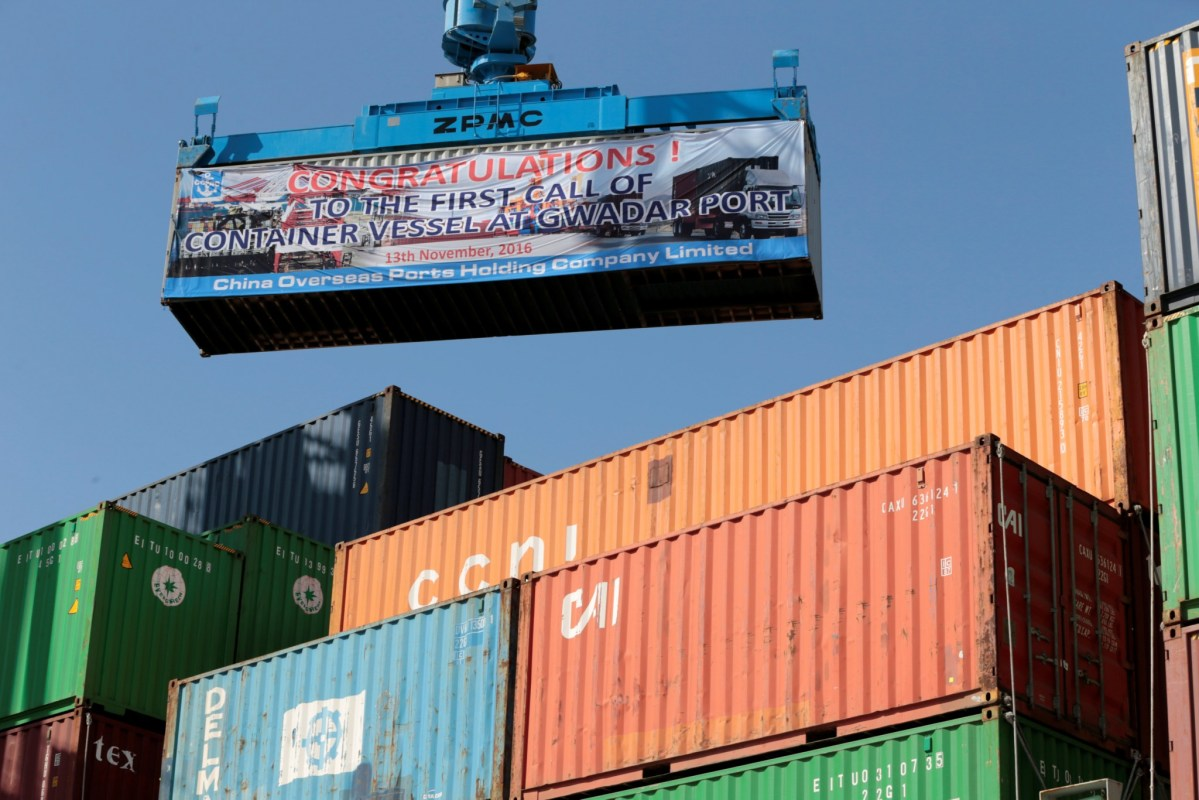 A container is loaded on to the first Chinese container ship to depart after the inauguration of the China Pakistan Economic Corridor port in Gwadar, Pakistan November 13, 2016. Photo: Reuters / Caren Firouz