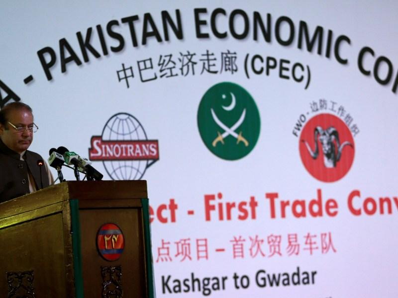 Pakistan's Prime Minister Nawaz Sharif speaks at the inauguration of the China Pakistan Economic Corridor port in Gwadar, Pakistan November 13, 2016. Photo: Reuters/Caren Firouz