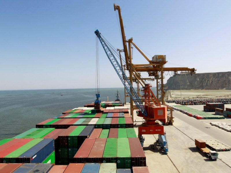 A container is loaded at the China Pakistan Economic Corridor port in Gwadar in Pakistan. Photo: Reuters/Caren Firouz