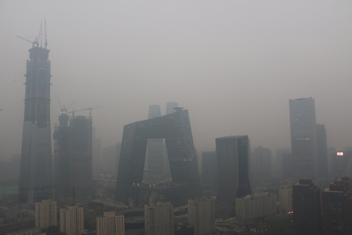 Beijing's landmark buildings during a polluted day in Beijing this month. Photo: Reuters/Stringer