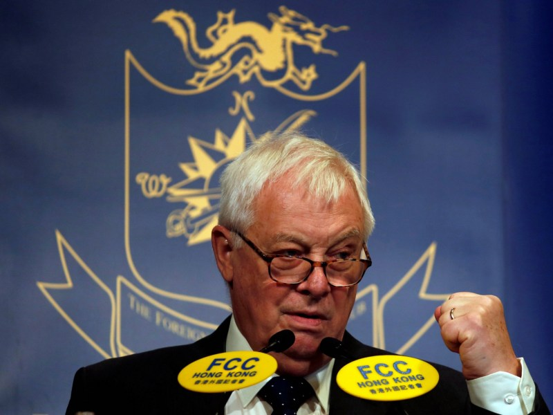 Former Hong Kong governor Chris Patten speaks at the Foreign Correspondents' Club in Hong Kong, China, on November 25, 2016. Photo: Reuters / Bobby Yip