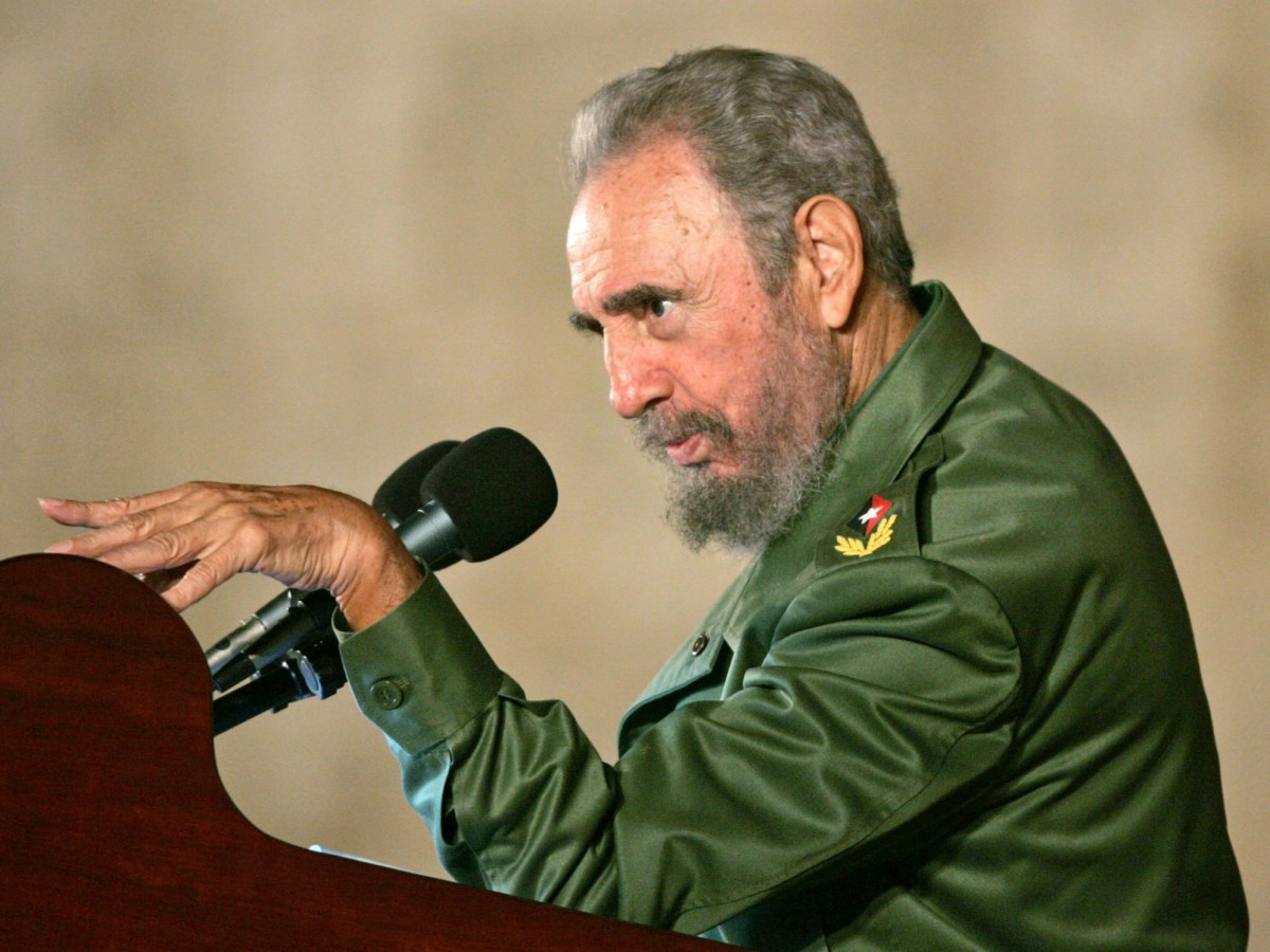 Then Cuban President Fidel Castro addresses the audience during a political rally in celebration of the 12th birthday of Cuban boy Elian Gonzalez in Cardenas in this December 6, 2005 file photo. Photo: Reuters/Claudia Daut
