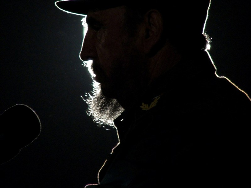 Then Cuban President Fidel Castro addresses the audience during an event with his Venezuelan counterpart Hugo Chavez on Havana's Revolution Square in this February 3, 2006. Photo: Reuters/Stringer