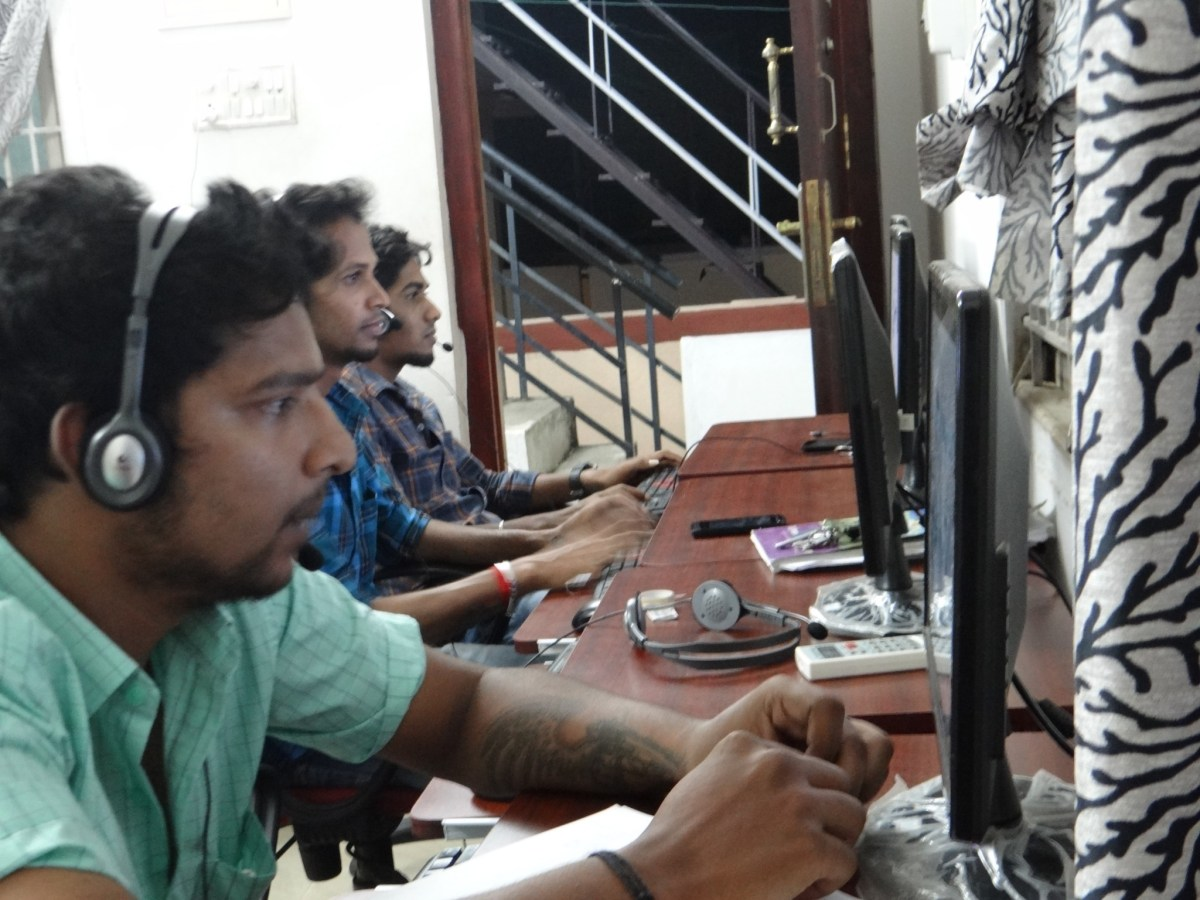 Agents taking calls at a start-up call center in the outskirts of Coimbatore, India. Phot: Asia Times