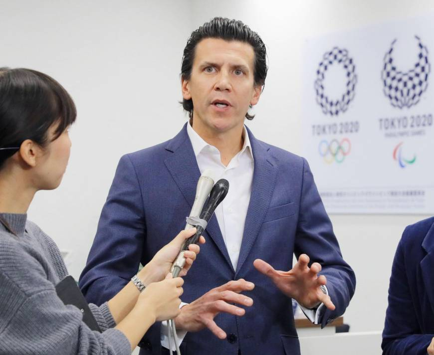 Christophe Dubi, an official on the International Olympic Committee, speaks to the media after a meeting November 3, 2016 in Tokyo to review the cost estimates for the Tokyo Olympics. | POOL/ VIA KYODO