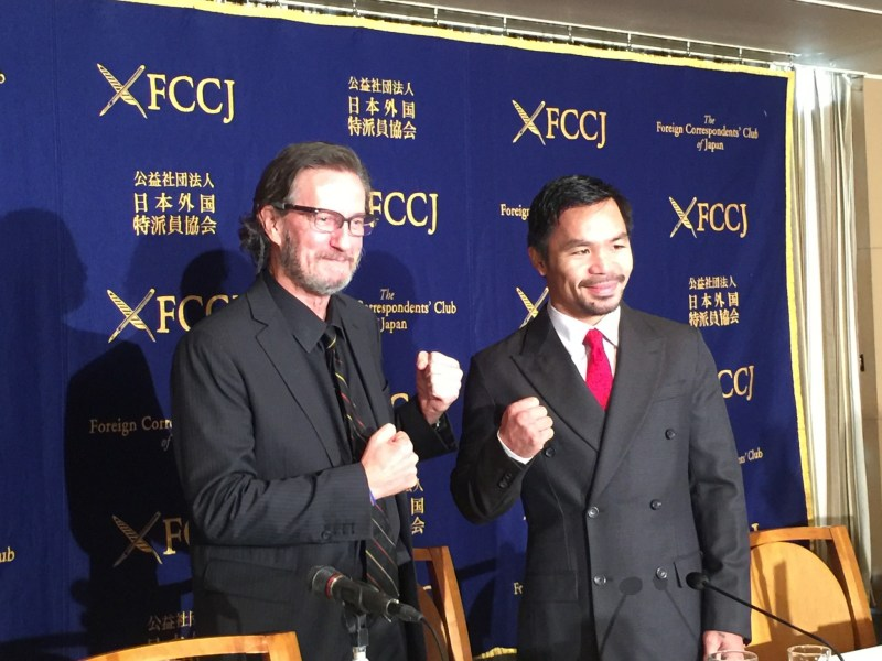 He could have been a contender: Even Asia Times North Asia Editor Peter Langan caught a touch of bare-knuckle fever when he went toe-to-toe with Manny Pacquiao at the FCC in Tokyo. Photo: FCC Japan