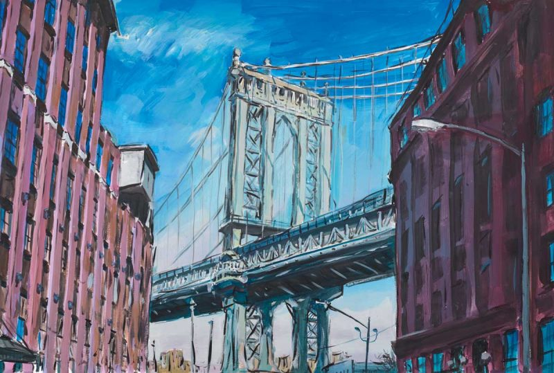 Bob Dylan's Manhattan Bridge, Downtown New York from his exhibition at the Halcyon Gallery in London.