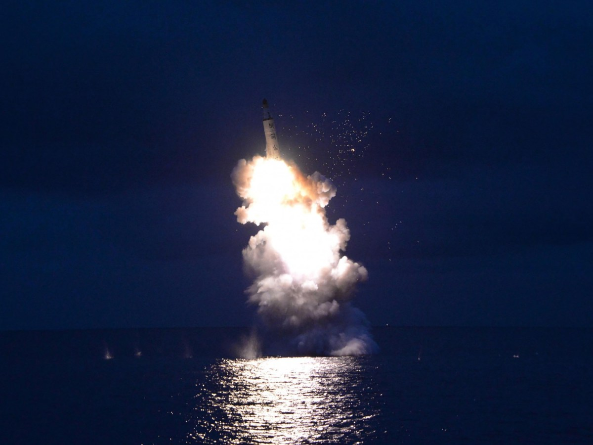 North Korea released this image of a test-fire of a submarine-launched ballistic missile in an undisclosed location. Photo: AFP via KCNA/KNS