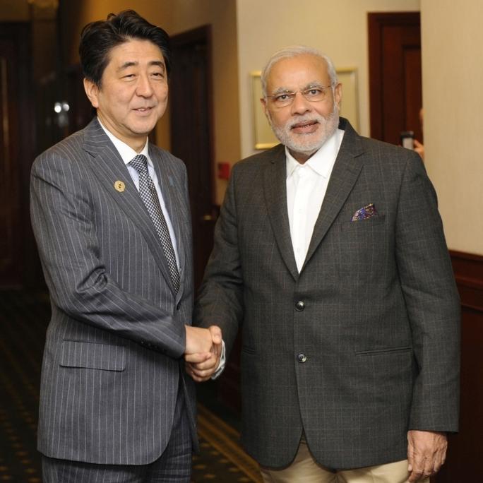 Japan's Prime Minister Shinzo Abe meets with India's Prime Minister Narendra Modi.