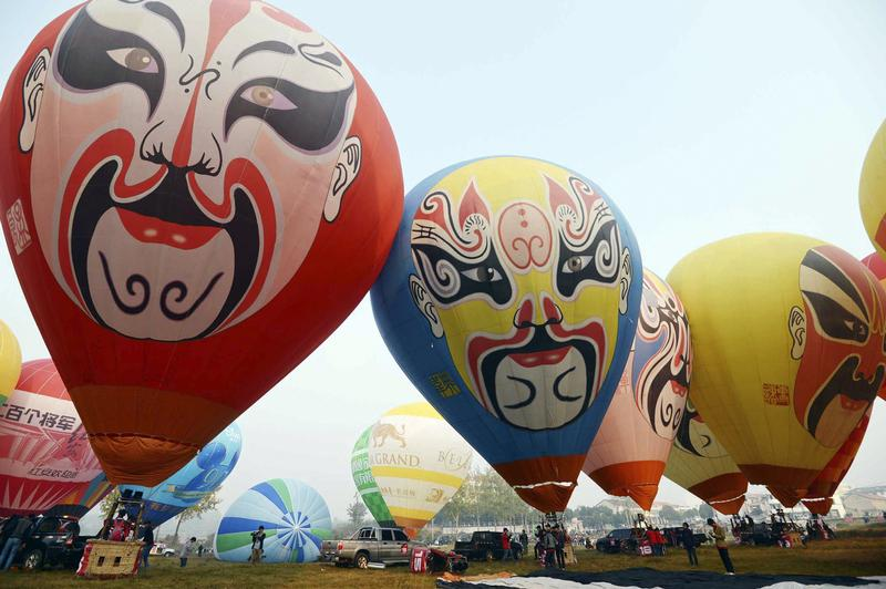 Hot-air balloons at a competition in Hongan, Hubei province. Photo: Reuters/China Daily
