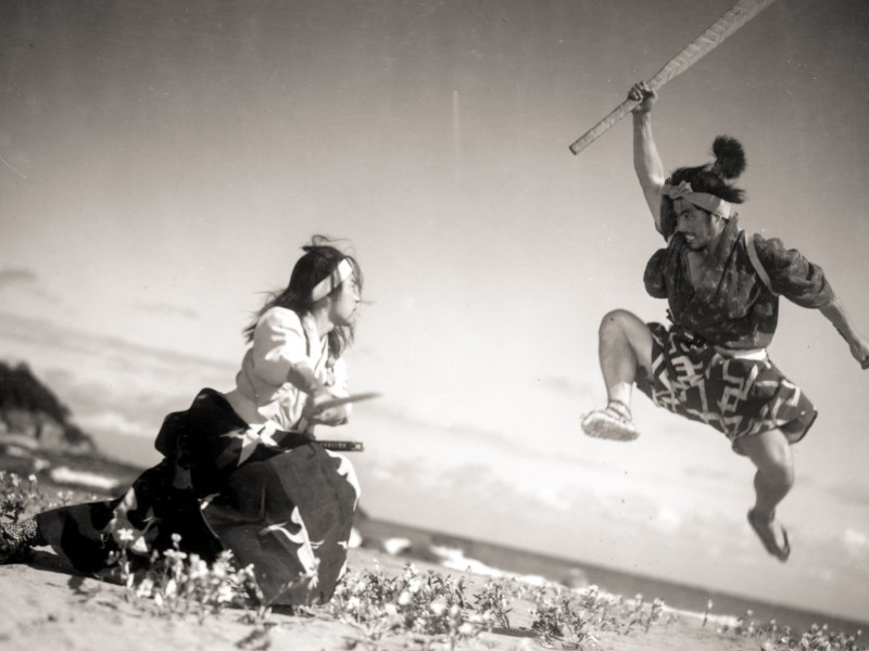 Toshiro Mifune (right) as Musashi Miyamoto duels with Rentaro Mikuni in The Samurai Trilogy – a series that influenced future films like Kill Bill. Photo: Strand Releasing