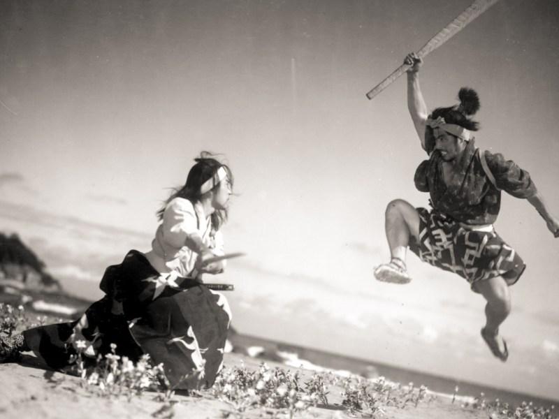 Toshiro Mifune (right) as Musashi Miyamoto duels with Rentaro Mikuni in The Samurai Trilogy – a series that influenced future films like Kill Bill. Photo: Strand Releasing