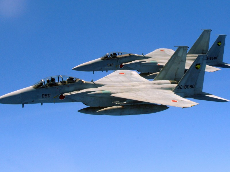 Two Japanese Air Self Defense Forces F-15s. Photo: Wikimedia Commons