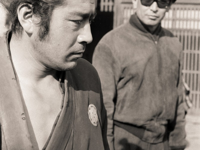 Kurosawa (right) with Mifume during filming of 1961 classic Yojimbo. Photo: Strand Releasing